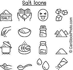 塩, アイコン, セット, 中に, 薄いライン, スタイル