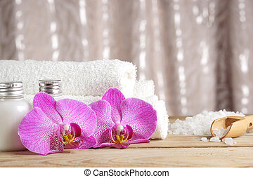 塩, タオル, プロシージャ, ローション, 準備, 明るい, エステ, テーブル, 花, ラン