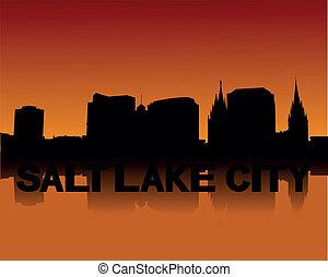 塩, 都市 スカイライン, 日没, 湖