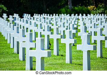墓地, アメリカ人, colleville  - sur  - mer, ノルマンディー, 記念, france., ...
