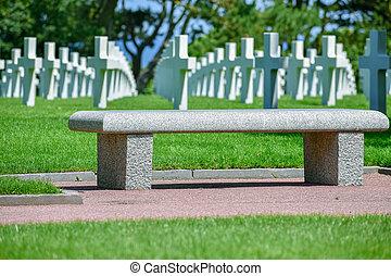 墓地, アメリカ人, france., mer, sur, ノルマンディー, colleville, 記念, ...