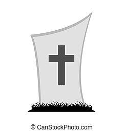 墓地, 交差点, アイコン, 墓, 草
