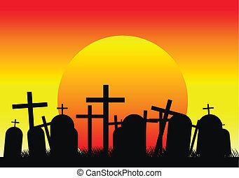 墓地, 日没