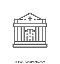 墓地, 線, クリプト, 家, 教会, icon., 墓