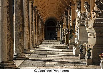 墓地, verano, italia, -, roma