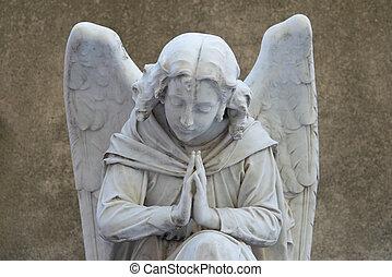墓碑, 古い, 天使, 墓地