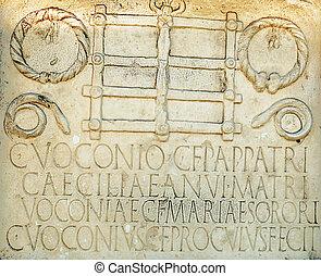 墓碑, 由于, 拉丁語, 信件