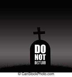 墓, 妨げなさい, シルエット, dont, イラスト