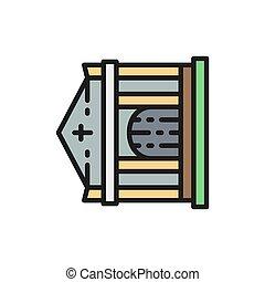 墓, 家, 線, icon., 墓地, 教会, クリプト, 色, 平ら