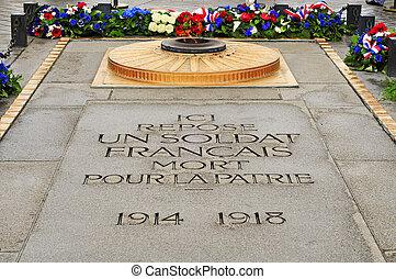 墓, 未知, de, パリ, フランス, 兵士, 弧, triomphe, 世界, 下に, 戦争