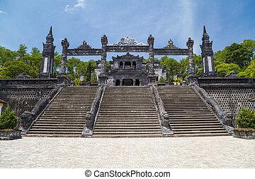 墓, 色合い, khai, 帝国, 壮大, dinh, 階段, ベトナム