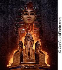 墓, statues., pharaoh`s