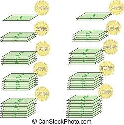 増加, お金, パーセント, ドル
