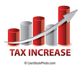 増加, グラフ, 税, イラスト