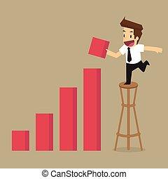増加, ビジネスマン, 収入, グラフ