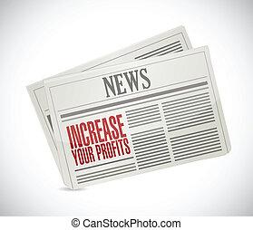 増加, 新聞, あなたの, イラスト, 利益
