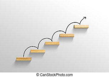 増加, 階段, 上昇, 矢, ビジネス