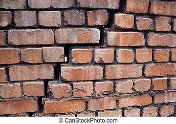 墙壁, 大, 砖, 裂缝