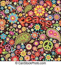 墙纸, 带, hippie, 象征性