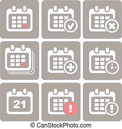 增加, 矢量, 日曆, 進展, icons:, 事件, 刪除