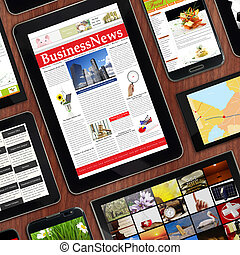 增进, 样板, 数字, 设备, 在上, 木制, 桌面