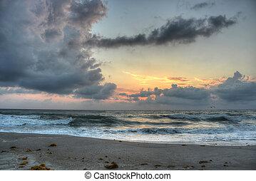 墨尔本, 海滩, 在, 日出