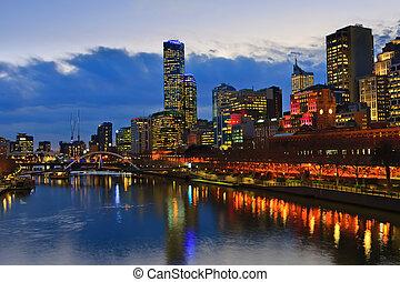 墨爾本, 市區, 河, 夜晚, yarra