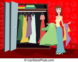 壁櫥, ......的, 衣服, -, 黑發淺黑膚色女子
