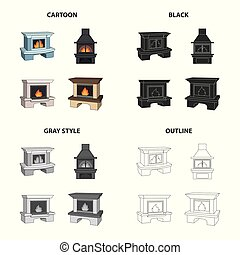 壁爐, 火, 溫暖, 以及, comfort., 不同, 種類, ......的, 壁爐, 集合, 彙整, 圖象, 在, 卡通, 黑色, 單色, outline, 風格, 矢量, 符號, 股票, 等量, 插圖, web.