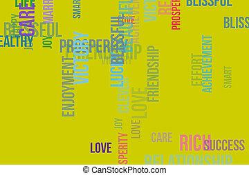 壁紙, ∥あるいは∥, 単語, &, 手ざわり, 形, バックグラウンド。, joy., パターン, 豊富, 心配, デザイン, 雲, tagcloud, 幸せ