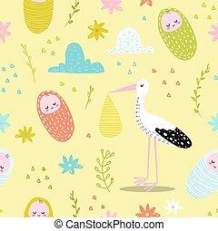 壁紙, かわいい, 生地, card., シャワー, パターン, seamless, イラスト, 新生, ベクトル, 背景, 装飾, 赤ん坊, おめでとう, child., コウノトリ