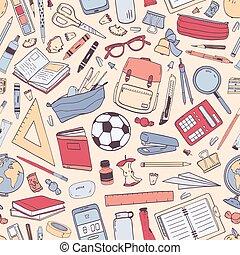 壁紙, スタイル, ライト, 背景。, カラフルである, 現実的, ペーパー, パターン, 包むこと, 背中, イラスト, seamless, バックグラウンド。, 学校, ベクトル, 手, 供給, 文房具, 引かれる, 教育, ∥あるいは∥
