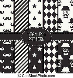 壁紙, セット, mustache., パターン, ベクトル, グラフィック, seamless, fills.,...