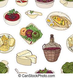 壁紙, 料理, 食事, カラフルである, 皿, バックグラウンド。, ペーパー, パターン, 国民, 包むこと, seamless, イラスト, 手, 織物, 優雅である, ベクトル, 伝統的である, 引かれる, 白, georgian, print.