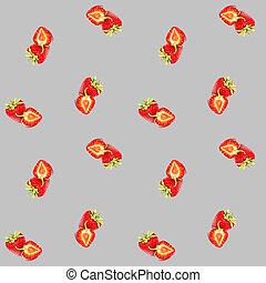 壁紙, 枕, カーテン, cases., いちご, パターン, 背景, 装飾, seamless, 熟した, 電話, 赤, 単純である