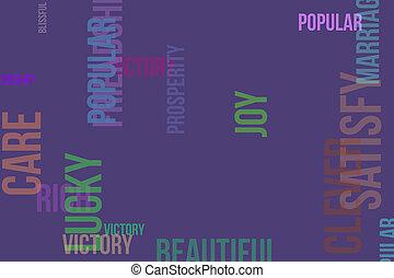 壁紙, 繁栄, 雲, 単語, &, 幸せ, 手ざわり, 形, バックグラウンド。, satisfy., デザイン, パターン, かなり, ∥あるいは∥, 豊富