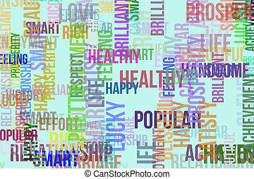 壁紙, 繁栄, 雲, 単語, &, 手ざわり, 形, バックグラウンド。, デザイン, パターン, 利発, care., かなり, ∥あるいは∥, 幸せ