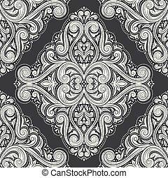 壁紙, 織物, 偉人, illustration., 旗, ビジネス, ダマスク織, フライヤ, 型, ∥あるいは∥, 装飾, パターン, カード, 包装, 切望された, 黒, idea., 白, (どれ・何・誰)も, 生地