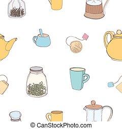 壁紙, 背景。, カラフルである, 原料, ペーパー, お茶, 包むこと, seamless, イラスト, 手, 織物, バックグラウンド。, ベクトル, 印刷, パターン, 作成, 引かれる, 白, 道具, 飲むこと, 台所