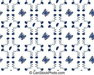壁紙, hand-drawn, 優雅である, 花, 青, 形態, 白, 生地, パターン, 装飾, 織物, タイル, バックグラウンド。, seamless, 蝶, 抽象的, vector., tile., ペーパー, パターン, 中, 包むこと