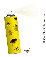壁虱, 昆虫, 蚤, insecticide., 水霧, 被隔离, 上, white.