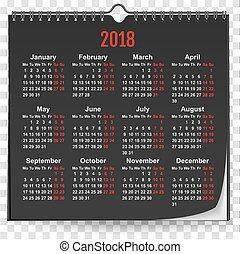 壁, の上, 黒, 2018, テンプレート, カレンダー, mock