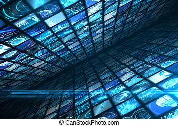壁, の, デジタル, スクリーン, 中に, 青