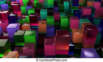 壁, の, 青, 緑, ピンク, そして, 紫色, ガラス, 立方体