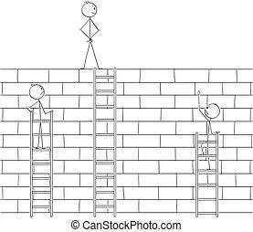 壁, はしご, 克服, 高く, 競争相手, 障害, ビジネスマン, 乱打, 漫画