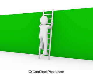 壁, はしご, 緑, 人間, 3d