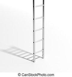 壁, はしご, 隔離された, イラスト, バックグラウンド。, 白, 銀, 3d