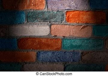 壁, れんが, イラスト, カラフルである