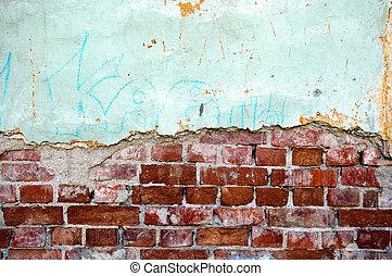 壁, れんが, 古い