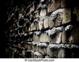 壁, れんが, 古い, 細部